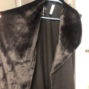 Ideology Jackets & Coats - Black faux fur lined vest